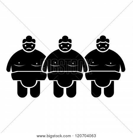 an images of 3 black Sumo wrestling People Icon Illustration design