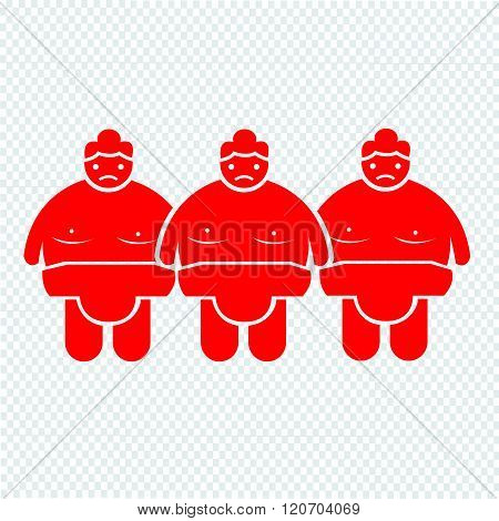 an images of 3 red Sumo wrestling People Icon Illustration design