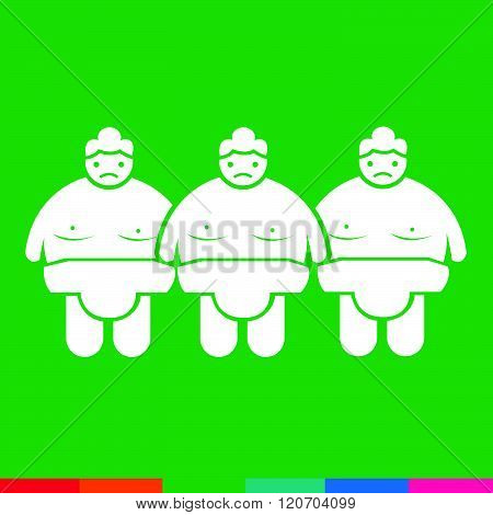 an images of 3 green Sumo wrestling People Icon Illustration design