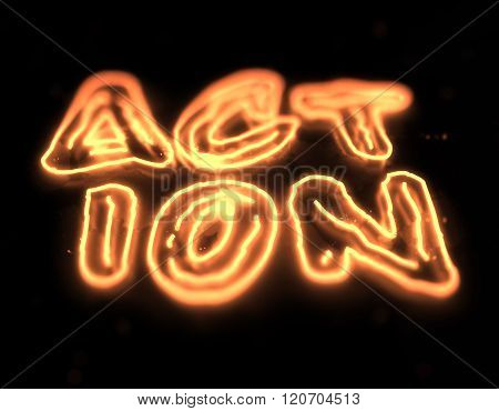 Action neon sign isolated on black background