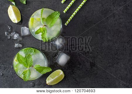 Fresh Mojito with lime and mint on slate