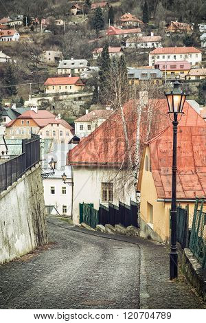 Street With Ancient Houses In The Old Town Banska Stiavnica, Slovakia, Unesco
