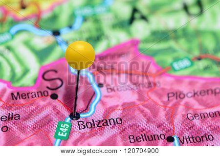 Bolzano pinned on a map of Italy
