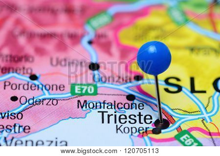 Trieste pinned on a map of Italy