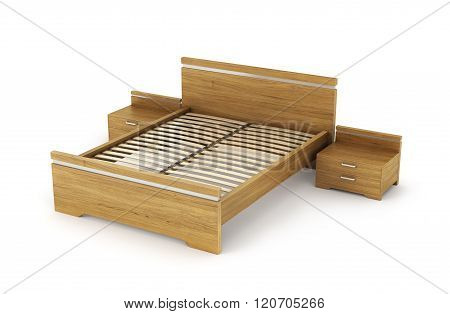 Wooden Bed With Bedside Tables On Either Side