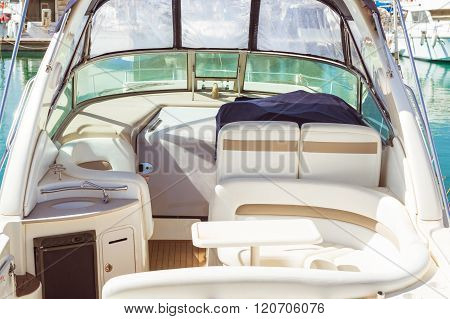 Interior Of Small Yacht In White Eco-leather In Marina Of Torrevieja, Valencia, Spain