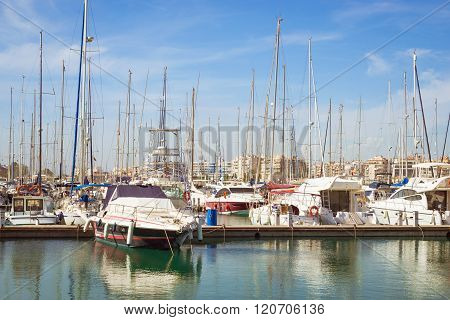 Puerto Deportivo Marina Salinas. Yachts And Boats In Marina Of Torrevieja, Valencia, Spain