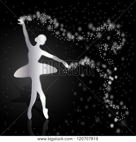 Silver ballerina on dark background.