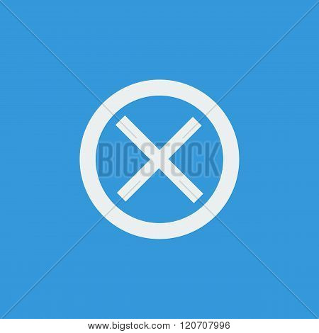 Cancel Icon, On Blue Background, White Outline, Large Size Symbol
