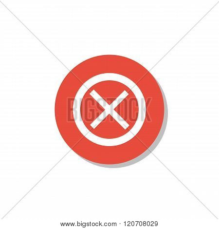 Cancel Icon, On White Background, Red Circle Border, White Outline