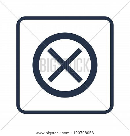 Cancel Icon, On White Background, Rounded Rectangle Border, Blue Outline