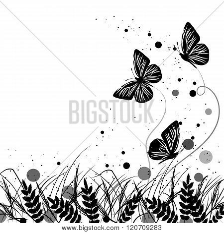 Grass and butterflies silhouettes background.