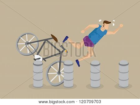 Cycling Accident Cartoon Vector Illustration
