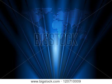 Dark blue tech design with world map and beams. Vector background
