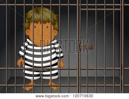 Prisoner being locked in the prison illustration