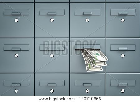 Mailboxes. One of the mailbox with money