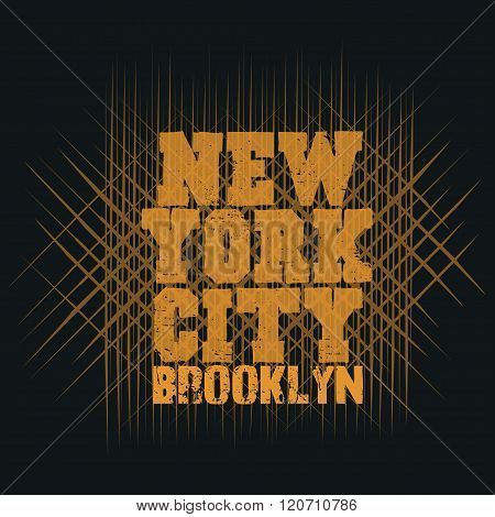 New York Typography, T-shirt  Brooklyn, Design Graphic