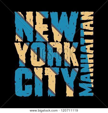 New York Typography, T-shirt  Manhattan, Design Graphic