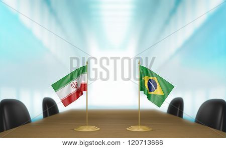 Iran and Brazil relations and trade deal talks 3D rendering
