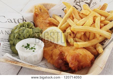 Image of traditional British fish and chips
