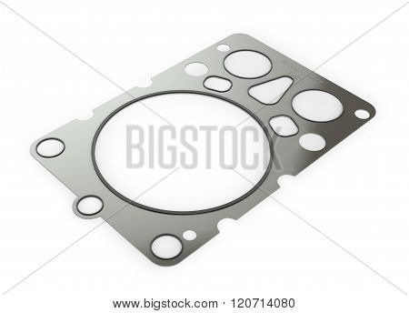 Gasket Car Engine Cylinder Head, Isolated White Background.
