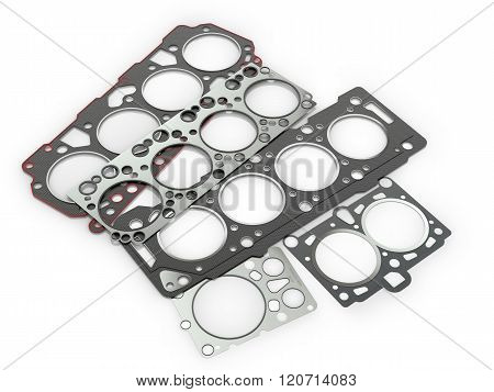 Gaskets For Cylinder Car Engine Isolated White Background.