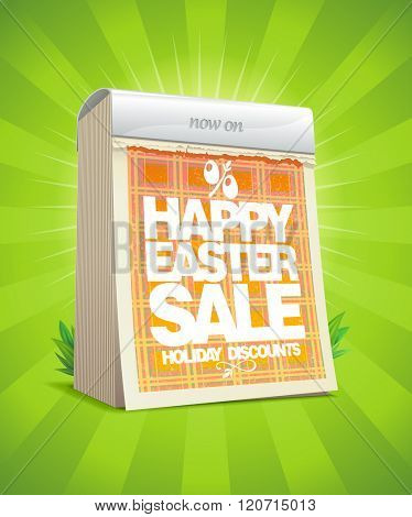 Holiday discounts, Easter sale design in form of tear-off calendar