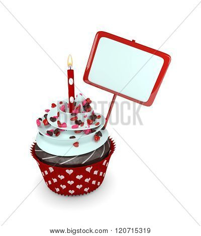 Sweet Cupcake With Candle And Blank Board Isolated On White
