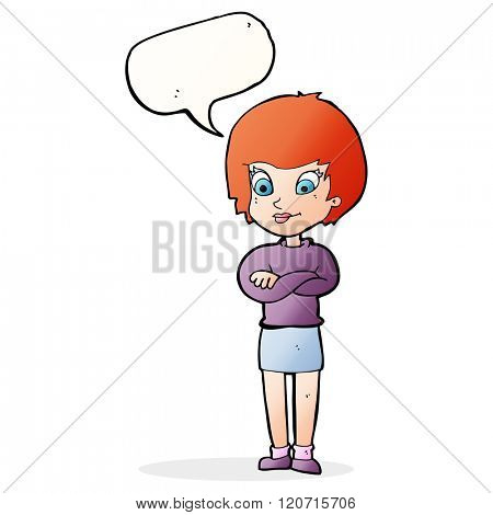 cartoon proud woman with speech bubble