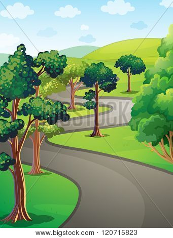 Nature scene with trees in the park illustration