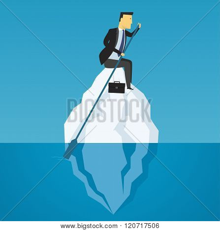 Businessman Floats On Iceberg. Business Challenge, Motivation To
