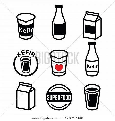 Kefir or kephir, fermented milk product, superfood icons set