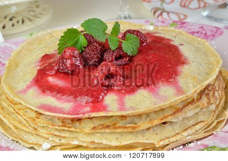 Pancakes With Raspberry Jelly And Lemon Balm