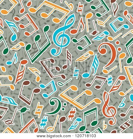 Vector musical pattern with notes. Vector illustration.