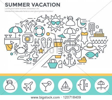 Summer vacation concept illustration, thin line flat design