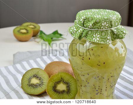 Jar With Home Made Kiwi Jelly