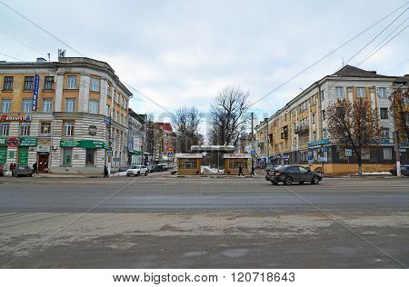 Tver, Russia - February 27. 2016.  Crossing Boulevard Radishchev  and a Tverskaya Streets