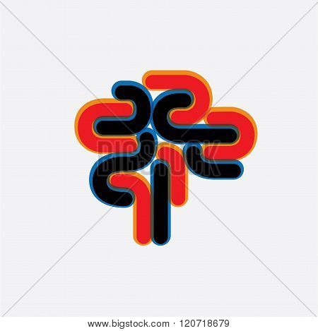 Abstract And Colorful Human Brain Vector Graphic Icon