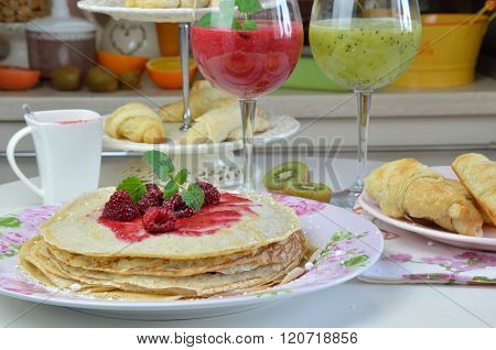 Pancakes And Smoothies For Breakfast