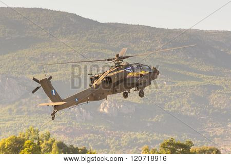 Athens, Greece 13 September 2015. Apache helicopter taking off at the Athens air week flying show.