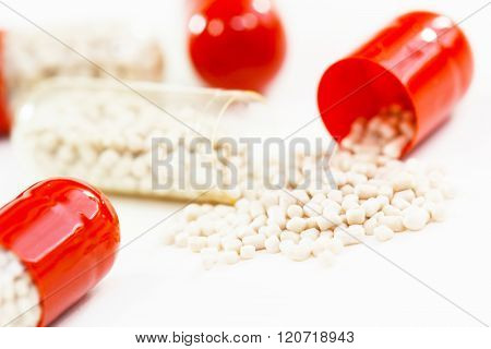 Drugs capsules in macro