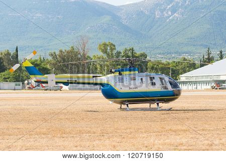 Athens, Greece 13 September 2015. Helicopter ready for the show at the Athens air week flying show.