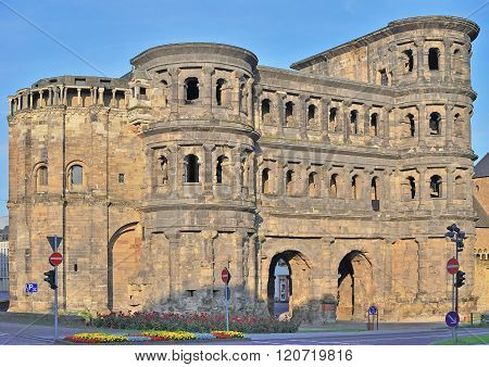 the famous Roman City Gate of Trier in Mosel Valley called Porta Nigra,Rhineland-Palatinate,Germany