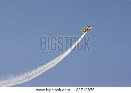 Athens, Greece 13 September 2015. Aviator plane doing tricks up in the sky.