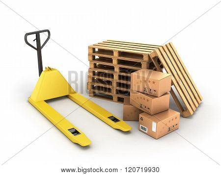 Hand Pallet Truck With Boxes And Pallets Lying Near Isolated On White