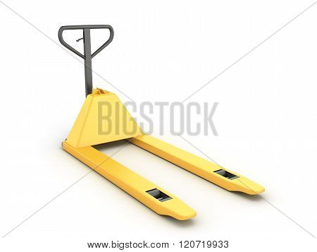 One Pallet Truck Or Forklift Isolated On White Bacground