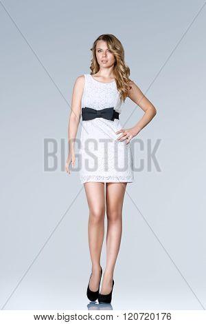 Beautiful Slim Woman In Mini Dress