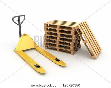 Pedestrian Stacker For Pallets And Pallets Lying Near Isolated On White