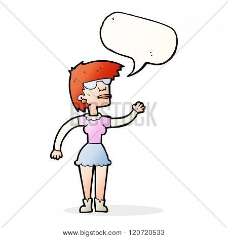 cartoon woman in spectacles waving with speech bubble