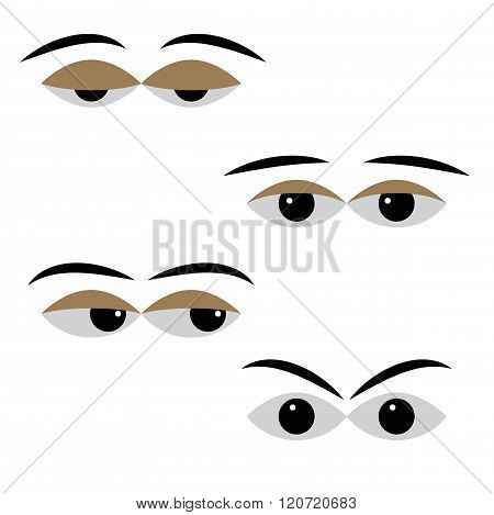 Eye Vector With Different Moods On A White Background